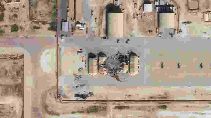 Imagens de satélite mostram a base aérea do Iraque, que abriga tropas americanas, alvo de ataques pelo Irã - HO/Planet Labs Inc/AFP