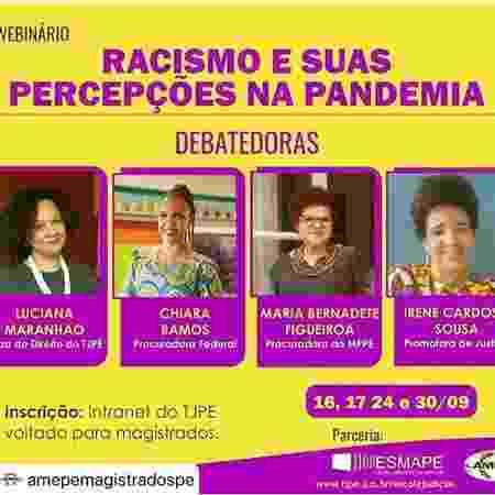 Divulgação do webnário sobre racismo que gerou manifesto de magistrados de Pernambuco - Reprodução - Reprodução