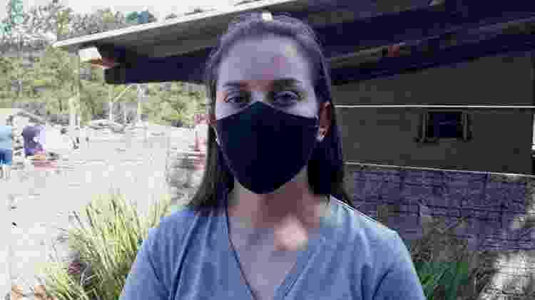 4.abr.2021 - A agente educativa Aline Biazbetti, 27,que ajudou a socorrer uma das crianças vítimas do ataque em Saudades (SC) - Hygino Vasconcellos/UOL - Hygino Vasconcellos/UOL