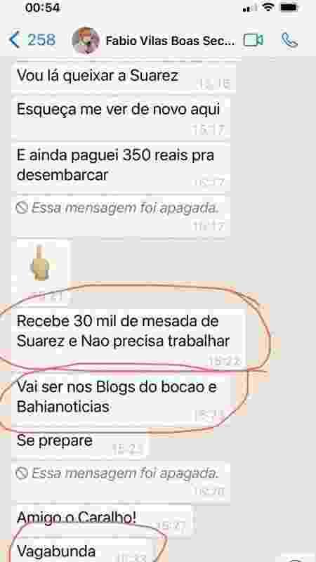 Print enviado pela chef Angeluci Figueiredo de conversa com secretário estadual de Saúde - Divulgação - Divulgação