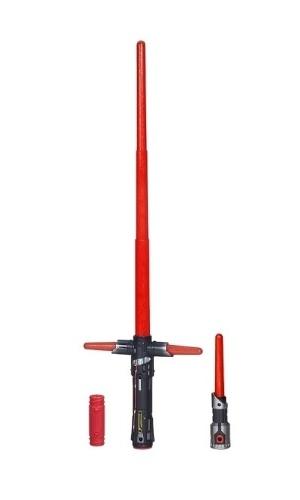 """Sabre de luz eletrônico do personagem  Kylo Ren, de """"Star Wars: o Despertar da Força"""". Fabricado pela Hasbro, custa R$ 199,99 no site da RI Happy"""