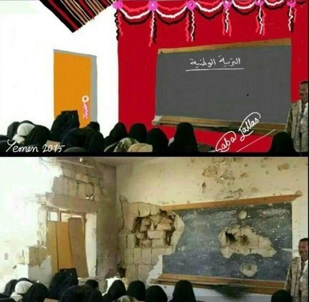 """Desenhos também mostram escolas """"reconstruídas"""""""