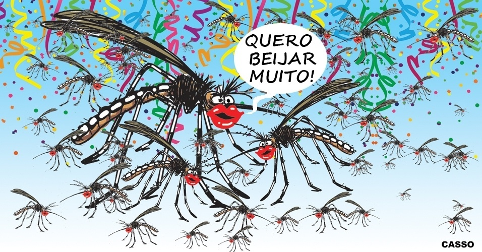 """9.fev2016 -  Neste Carnaval é preciso tomar cuidado com o """"beijo"""" do mosquito """"Aedes aegypti"""""""