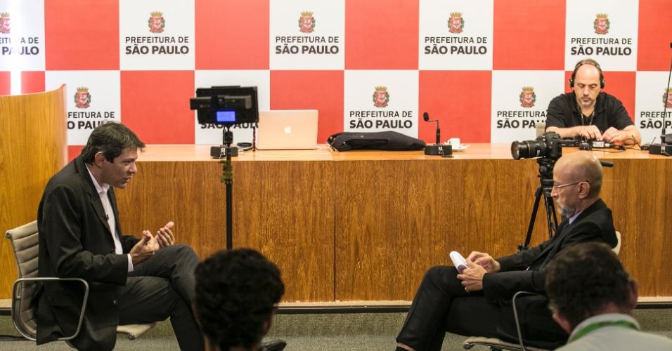19.jan.2016 - Fernando Haddad, prefeito de São Paulo, concede entrevista exclusiva ao colunista da Folha de S. Paulo e do UOL, Josias de Souza