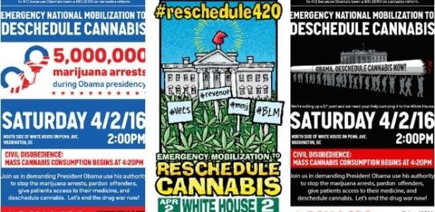 Cartazes convocam protesto pelo relaxamento das restrições ao uso da maconha nos Estados Unidos