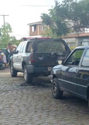 Um carro da Polícia Militar em Goianinha, região sul do Rio Grande do Norte, foi atacado por criminosos no domingo (31)