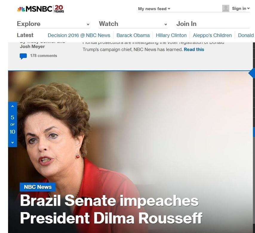 A notícia do impeachment de Dilma em destaque no site MSNBC