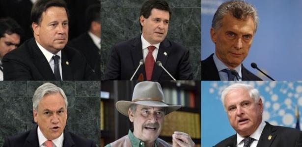 Presidentes do Panamá, Juan Carlos Varela, do Paraguai, Horacio Cartes e da Argentina, Mauricio Macri e os ex-presidentes do Chile, Sebastián Piñera, do México, Vicente Fox e do Panamá, Ricardo Martinelli