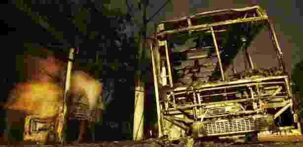 20.fev.2017 - Ônibus incendiado por bandidos ligados ao tráfico de drogas, em Niterói (RJ), em 29 de dezembro de 2006. No fim daquele ano, a região metropolitana do Rio foi alvo de uma onda de ataques ordenados por traficantes que deixou ao menos 19 mortos - Bruno Domingos - 29.dez.2006/Reuters - Bruno Domingos - 29.dez.2006/Reuters