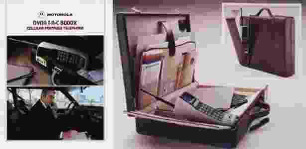 A publicidade da época era associada a uma parcela abastada da população; no início dos anos 1980, não se imaginava que, algum dia, os celulares poderiam ser carregados no bolso, e não em maletas executivas - Reprodução/Motorola