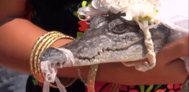 Crocodilo vestido como noiva durante cerimônia tradicional no México