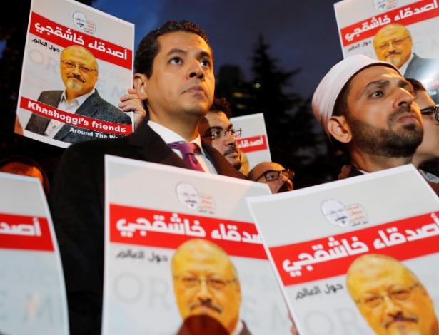 Manifestantes pedem esclarecimentos sobre a morte do jornalista Jamal Khashoggi - Osman Orsal/Reuters
