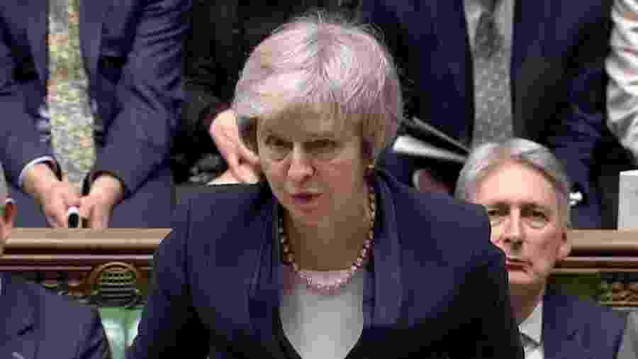 A primeira-ministra Theresa May após votar o acordo do Brexit, em Londres - Reuters