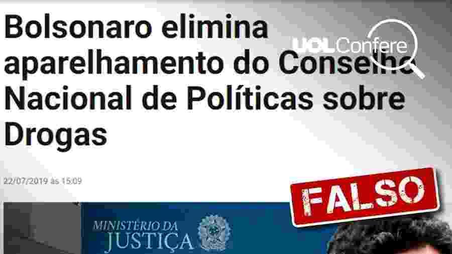 7.ago.2019 - Print de texto com informações falsas sobre o Conad (Conselho Nacional de Políticas Sobre Drogas) - Arte/UOL
