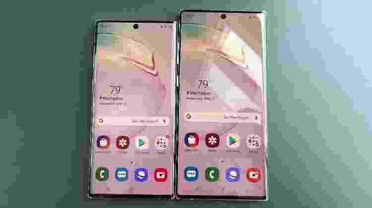 Galaxy Note 10 - frente das duas versões, com telas de 6,3 e 6,8 polegadas - Gabriel Francisco Ribeiro/UOL