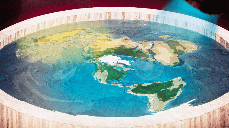 Pôster do filme Terra Plana mostra como seria o mapa se o planeta tivesse o formato de um disco - Divulgação