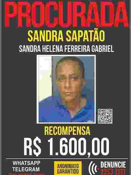 Cartaz do Disque Denúncia de Sandra Sapatão - Divulgação/Polícia Civil - Divulgação/Polícia Civil