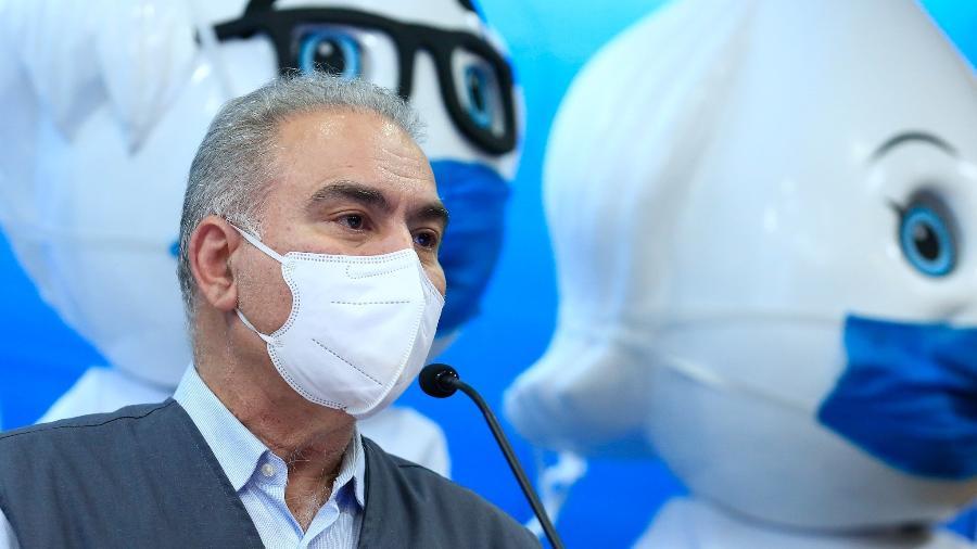 O ministro da Saúde, Marcelo Queiroga, relativizou a marca de 600 mil mortos pela covid-19 no Brasil - Myke Sena/MS