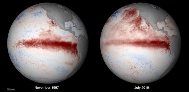 Imagem mostra a temperatura da superfície do oceano Pacífico durante o pico do pior evento global de branqueamento (ocorrido entre 1997 e 1998) em comparação às temperaturas identificadas em julho de 2015. A imagem faz uma comparação com a força do El Niño em 2015/2016