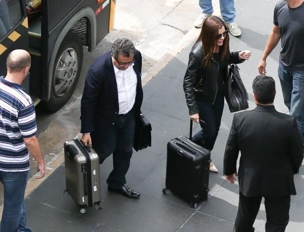 23.fev.2016 - O publicitário João Santana e a mulher, Monica Moura