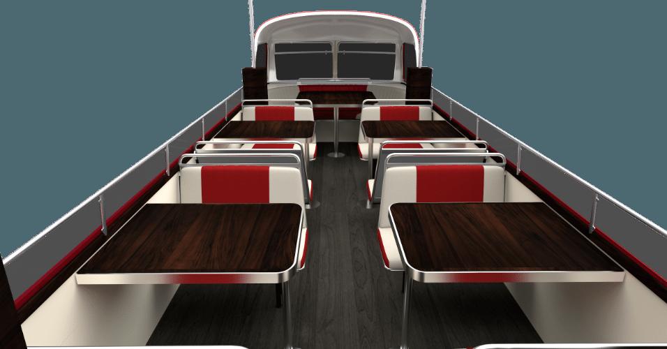 Parte de cima do ônibus inglês do food truck Busger, que será inaugurado no final do mês de junho; segundo o empresário Rodrigo Arjonas, o espaço comporta 24 pessoas