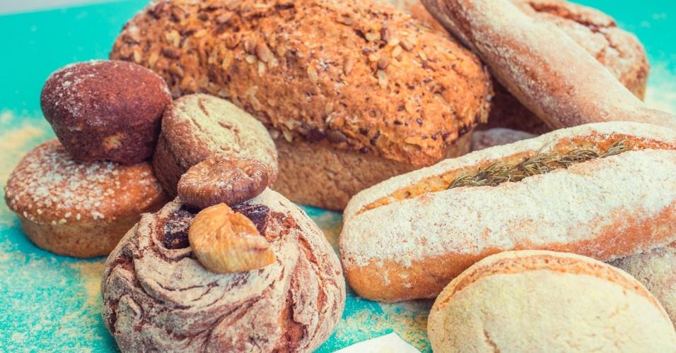 Pães vendidos na padaria e restaurante Grão Fino, que não tem produtos com glúten e lactose