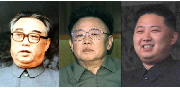 A partir da esq.: Kim Il-sung, Kim Jong-il e Kim Jong-un
