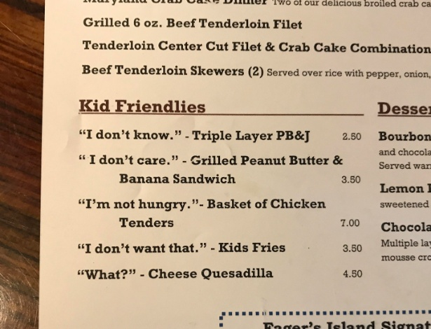 Imagem do menu com o cardápio para crianças