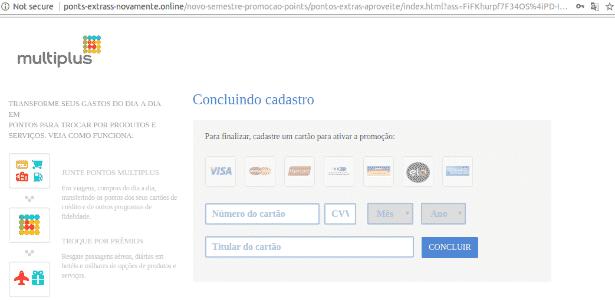 Usuário precisa colocar cartão de crédito em página falsa do Multiplus - Reprodução - Reprodução