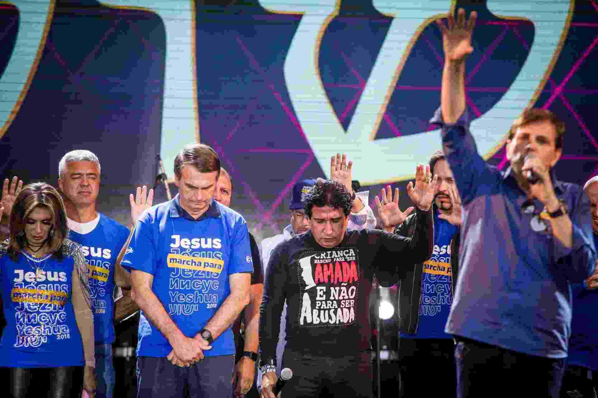 31.mai.2018 - O pré-candidato à Presidência, o deputado federal Jair Bolsonaro (PSL-RJ), participa da 26° Marcha para Jesus em São Paulo - Edson Lopes Jr./UOL