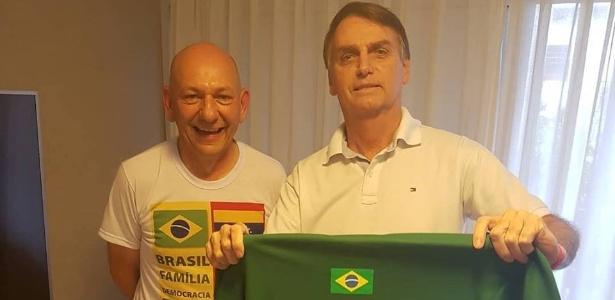 O empresário Luciano Hang (esq.) apoia a candidatura de Bolsonaro ao Planalto