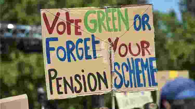Tanto ativistas ambientais quanto investidores estão olhando para o longo prazo. Cartaz diz: 'Vote pela sustentabilidade ou esqueça sua aposentadoria' - Nicolo Campo / BBC