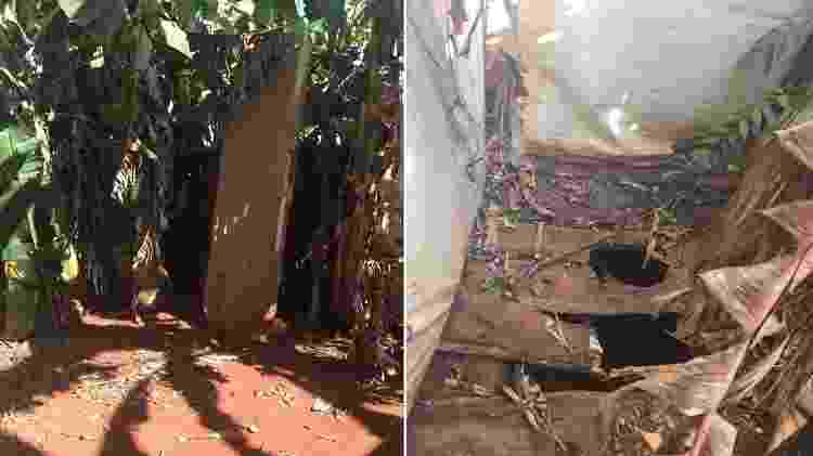 """""""Banheiro"""" utilizado pelos trabalhadores da Fazenda Santa Laura Vicuña, no Mato Grosso, onde 23 pessoas eram escravizadas - Auditoria Fiscal do Trabalho"""