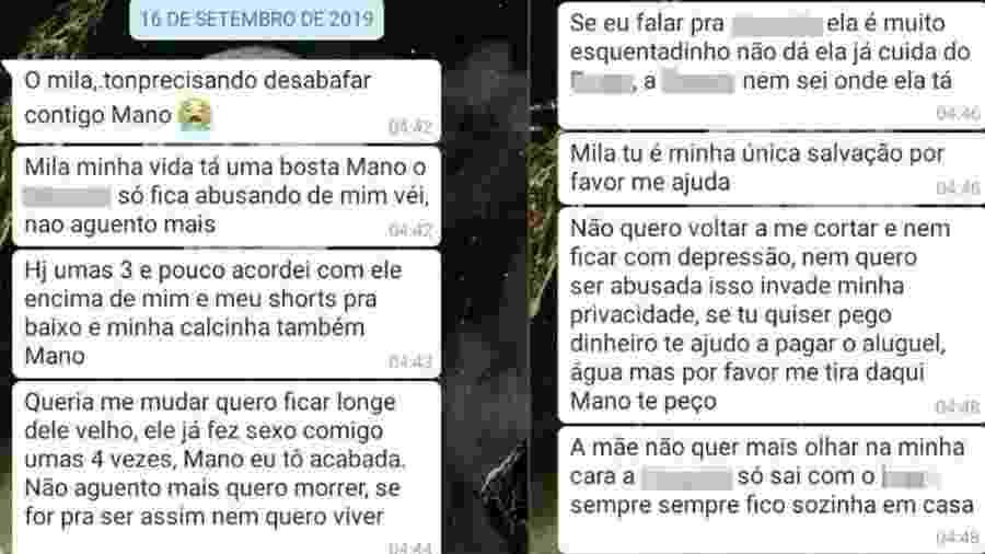 Adolescente usa WhatsApp para denunciar suposto estupro do pai - Reprodução/WhatsApp