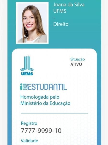 Simulação de carteirinha estudantil digital no aplicativo ID Estudantil, lançado pelo MEC - Divulgação