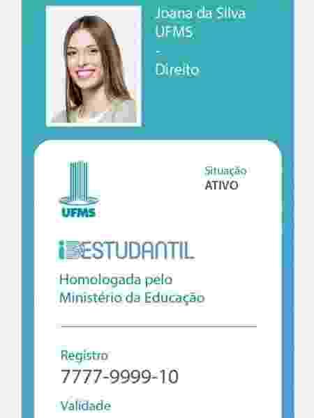 Simulação de carteirinha estudantil digital no aplicativo ID Estudantil - Divulgação
