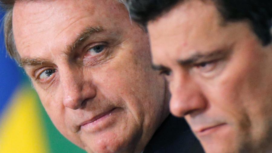 Presidente Jair Bolsonaro e ministro da Justiça, Sergio Moro, em Brasília - ADRIANO MACHADO