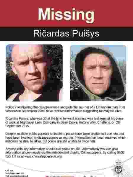 O lituano Ricardas Puisys foi encontrado escondido em floresta do Reino Unido após cinco anos desaparecido; a polícia acreditava que ele havia sido assassinado - Divulgação/Polícia de Cambridgeshire