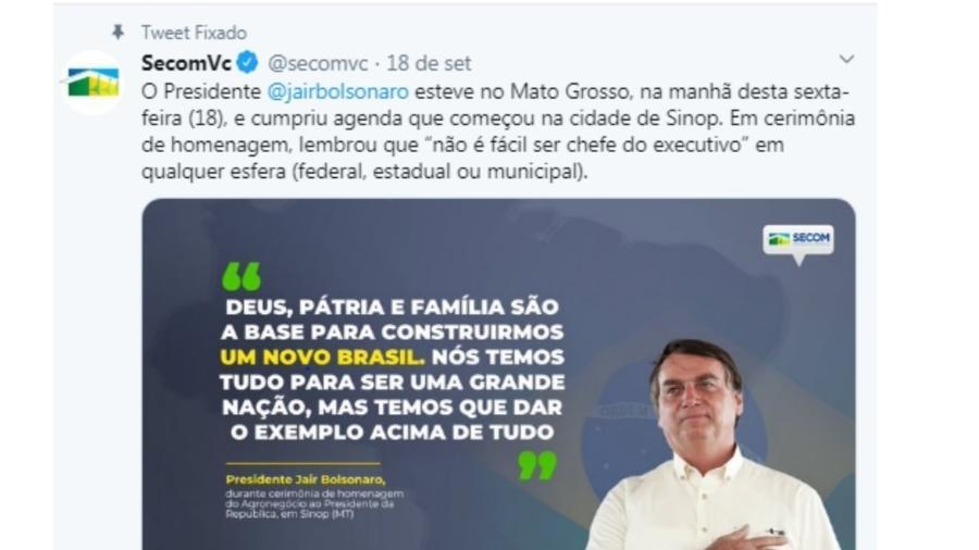 Postagem de 18 de setembro 2020 na página da Secom no Twitter. Procurador que analisou pedaladas no governo Dilma fez representação contra o governo Bolsonaro no TCU - Reprodução