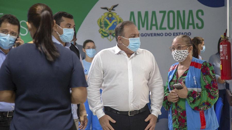 O ministro da Saúde, Eduardo Pazuello, visita hospital em Manaus - Caio de Biasi/MS