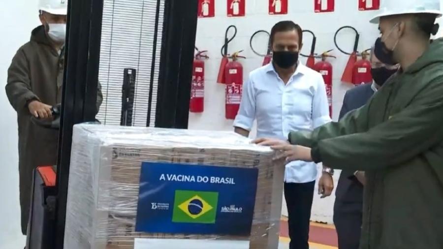 João Doria participou hoje da liberação de novas doses da CoronaVac para o PNI (Programa Nacional de Imunização) - Reprodução/TV Globo