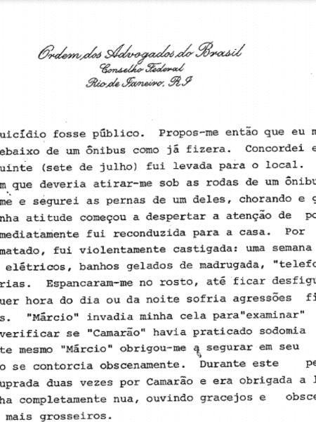 Relatório escrito por Inês Etienne Romeu - Reprodução - Reprodução
