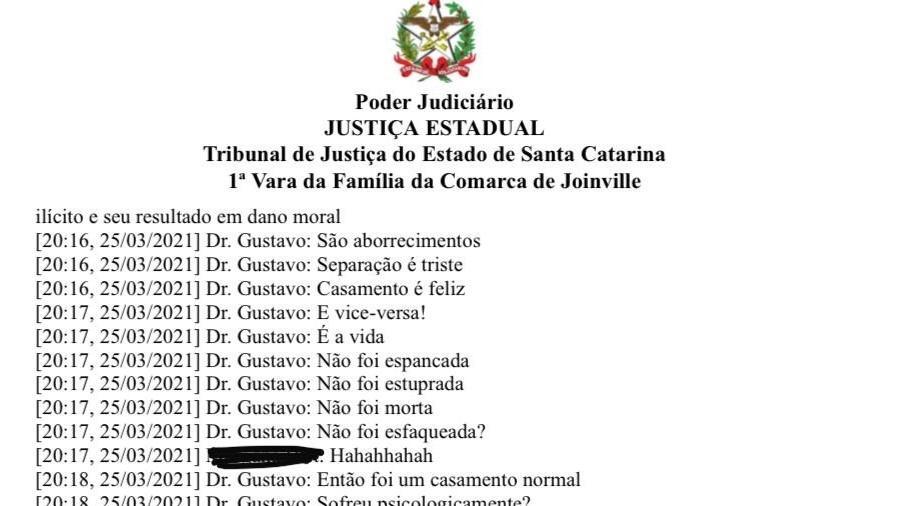 Troca de mensagens do juiz Gustavo Schwingel, da 1ª Vara da Família da cidade, com assessora foi parar por engano em processo - Reprodução