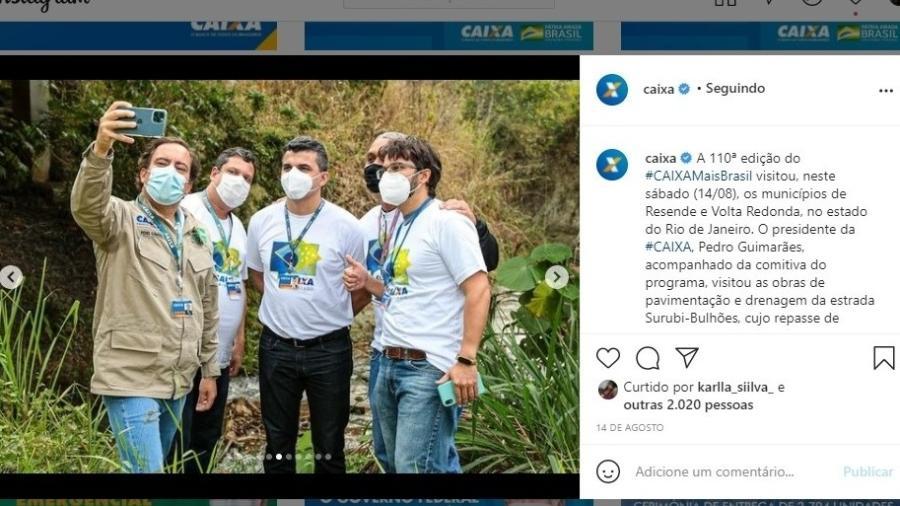 Perfil oficial da Caixa no Instagram divulga o presidente da instituição, Pedro Guimarães, fazendo uma selfie em Resende (RJ) - Reprodução/Instagram