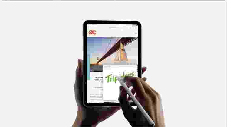 Novo iPad Mini é compatível com a caneta Apple Pencil - Reprodução - Reprodução