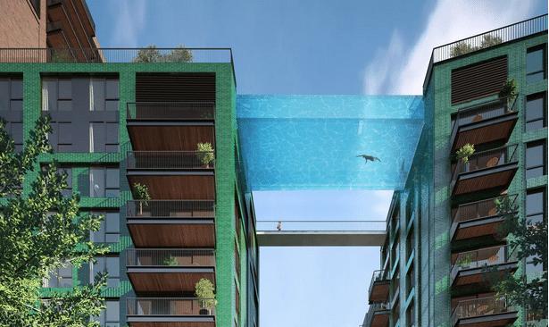 19.ago.2015 - O grupo Arup irá construir em Londres, próximo ao rio Tâmisa, o condomínio Embassy Gardens, com uma piscina de vidro com 25 metros de comprimentos e 35 de altura, para ligar dois edifícios residenciais. Quem se interessar em comprar um apartamento em um dos prédios terá que pagar 602 mil libras (cerca de R$ 3,3 milhões)
