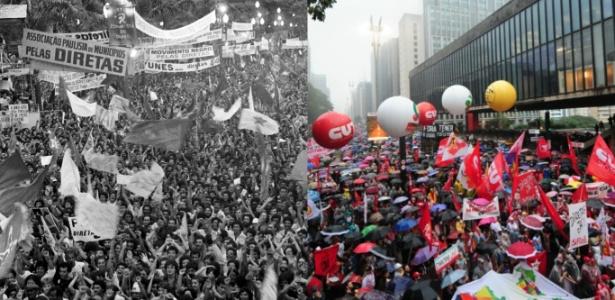 Manifestação pelas Diretas Já em 1984 e protesto contra Temer em 18 de maio