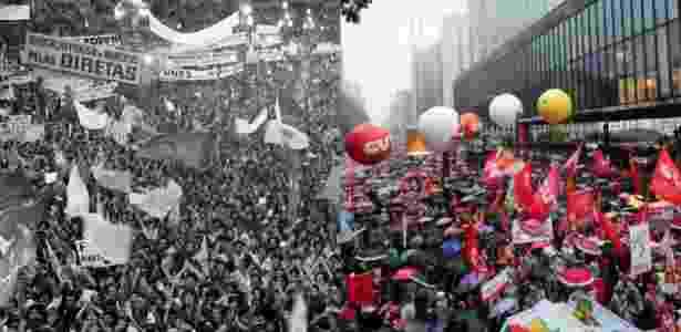 Manifestação pelas Diretas Já em 1984 e protesto contra Temer em 18 de maio - Arte UOL