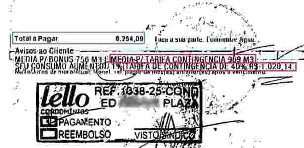 Em destaque, a média de consumo (969 m3) e o valor da tarifa de contingência (R$ 1.020,14) - Divulgação/Resgata