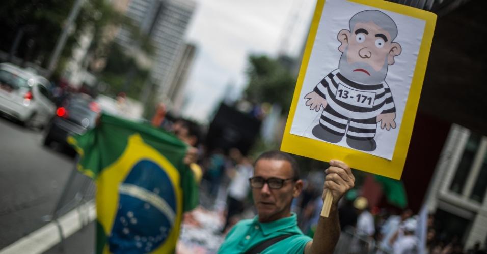 Manifestantes do MBL (Movimento Brasil Livre) se reunem na Av. Paulista para protesto contra o ex-presidente Lula